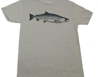 COHO - Grey T-shirt - water-based ink - Salmon - California - Alaska - Washington - Oregon - by uroko - limited