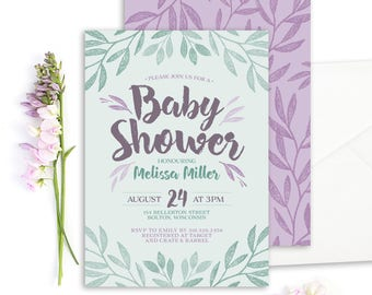 Baby Shower Invitation Printable Baby Shower Invite Digital Download Personalized Baby Invitation Whimsical Foliage Invitation Teal