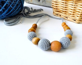 Nursing Necklace/Teething Necklace-Breastfeeding Necklace-Eco-Friendly-Gray-Mother's day