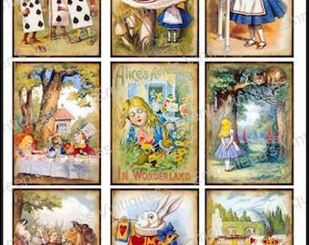 9 Vintage Grunge Alice In Wonderland Collage Sheet ATC ACEO Storybook / Retro Children Digital Collage Sheet Tags Images—Printable Ephemera