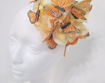 Orange Butterfly Headband- Orange Fascinator- Butterfly Headdress- Headdress NY- Garden Party -Monarch headpiece -Buttery Hat- Orange
