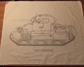 Hand-Painted,  M4A3 Sherman, Canvas Cross-section Banner
