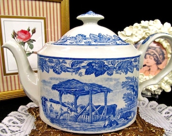 SPODE blue collection Rural Scenes large teapot super design and pattern