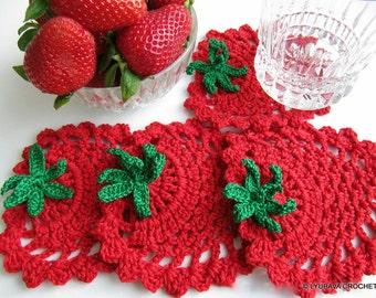 Crochet PATTERN, Strawberry Coaster Pattern, Crochet Home Decor Pattern, DIY Coasters Gift, Instant Download PDF Pattern #41 Lyubava Crochet