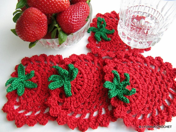 Crochet Pattern Strawberry Coaster Pattern Crochet Home