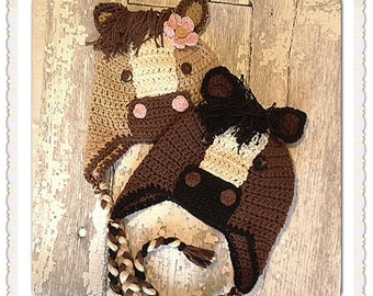 Crochet Horse hat, Ned and Nelly the Horse, Newborn to Adult sizing, MADE TO ORDER,