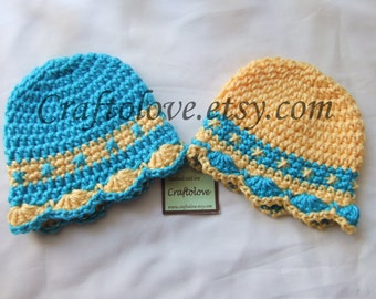 Crochet twin baby girl hat- Twin girl Hats - Set of 2 - Twin Sunshine Beach baby girl hat  - Twin girl Baby gifts - Twin girl photo prop