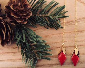 Gold and cherry red threader earrings in 14K Gold Filled, Christmas gift jewelry, Comme les Blés.