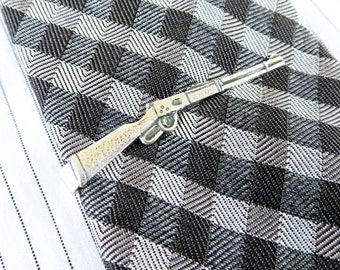 Rifle Tie Clip Rifle Tie Bar Sterling Silver Finish Men's Accessories