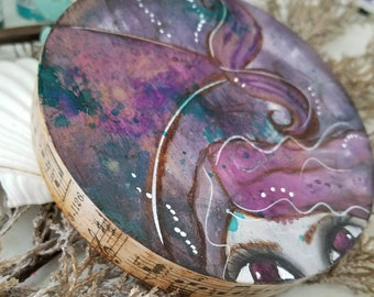 Peek A Boo Mermaid. Mini ORIGINAL painting. Amethyst