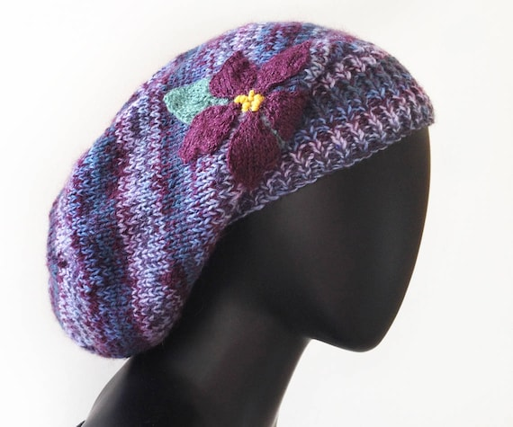 Violet Slouch Hat - Warm & Cozy Knitted Purple Woolly Winter Hat • Purple Knitted Slouchy Hat • Gift for Mum - Stylish winter hat Purple