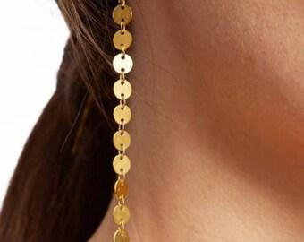 Long Gold Dot Drop Earrings - Rose Gold Earrings - Gold Earrings