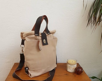 Beige canvas and dark brown leather bag