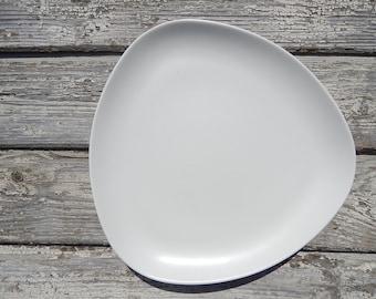 Scandinavian Vintage Höganas White Triangle Plate Hoganas Stoneware Salad Plate & Triangle plates   Etsy