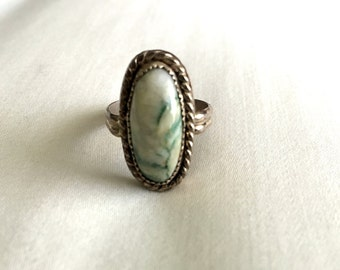 Fantastic White and Green Tree Agate Cabochon Sterling Silver Ring Size 9.5 Made by Terry Barnes