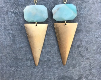 Amazonite & Gold Statement Triangle Dangles