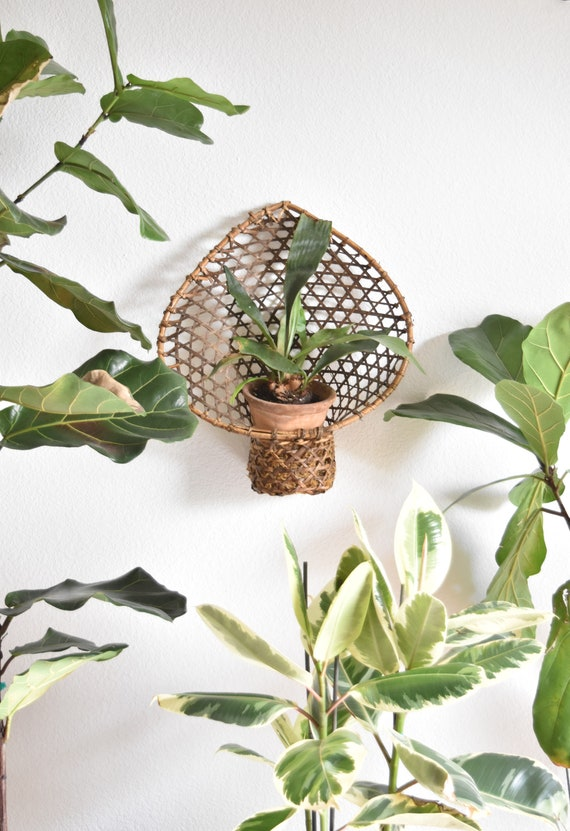 vintage wicker woven rattan wall hanging basket with pocket / planter