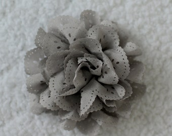 """3"""" Eyelet Hair Flowers, Wholesale Flower Heads for Headbands, Lot of 1 or 2, Grey"""