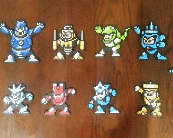 8 bit NES Mega Man 3 Perler Sprites:  Magnets and Coasters