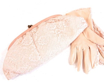 Ladies 1940s Lace Handbag, Purse, Wedding Evening Clutch with Matching Gloves, Special events Bag, Something Old, Satchel