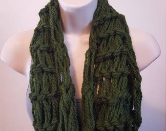 Forest Green Arm Knit Infinity Scarf