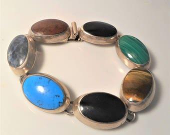 """Southwestern 47 grams 925 Signed Multi Gemstone 7 1/2"""" Women's Bracelet, Signed 925 Malachite, Turquoise, Onyx Gemstone Heavy Link Bracelet"""