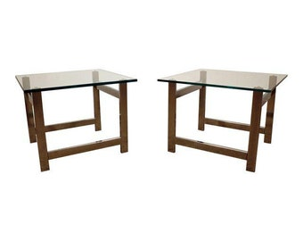 Pair of Mid-Century Danish Modern Milo Baughman Chrome & Glass End Tables