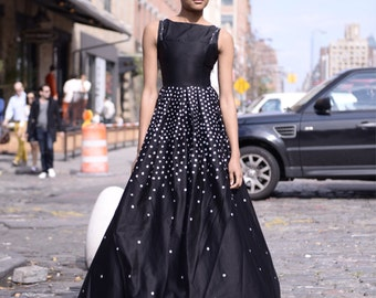 Custom hand painted polka dot ombre ball gown