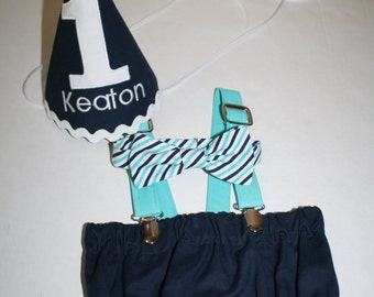 teal and navy, birthday outfit 1,  boy first birthday outfit, cake smash outfit, 1st birthday hat, suspenders, diaper cover, bow tie