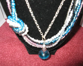 Summer Beaded, Knotted and Chained Necklace Pendant