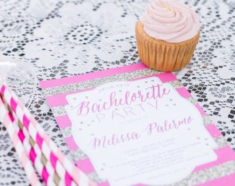 Bachelorette Invitation, Bachelorette Party Invitation, Bachelorette Weekend Invitation, Glitter Stripe Bachelorette Invitation