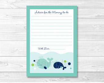 Whale Mommy Advice Cards / Whale Baby Shower / Whale Advice Cards / Printable INSTANT DOWNLOAD A236