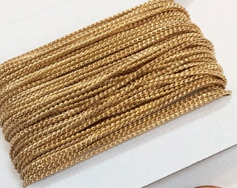 Gold plated Brass beading chain 1mm 32ft spool