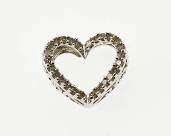10k Diamond Inset Raised Scroll Design Heart Pendant Gold