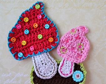 Crochet Mushrooms applique pattern - DIY