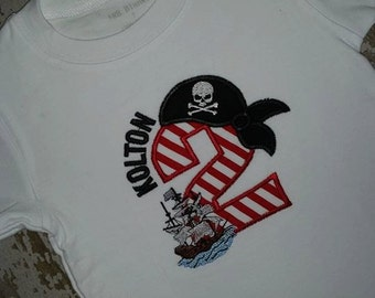 Pirate 2 Appliqued Shirt With Name or No Name