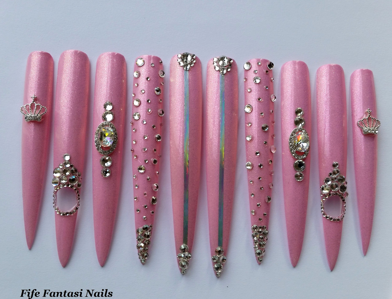 Extra Long Stiletto Nails, Swarovski Nails, Pink nails, Acrylic ...