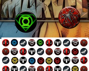 Marvel icons 12mm -  1/2 inch or 12 mm Images 4x6 Digital Collage INSTANT DOWNLOAD