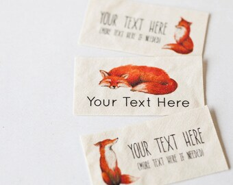 Fox Sewing Labels - Personalized Woodland Clothing Labels, sew on