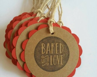 Baked With Love Tags, Baking Labels, Baking Tags, Baked goods tags, Jar Tags, Set of 15