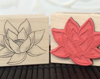 Lotus Flower rubber stamp from oldislandstamps