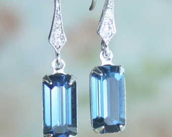 blue crystal earrings,vintage style earrings,downton abbey earrings,art deco earrings,swarovski earrings,montana blue earrings,light weight