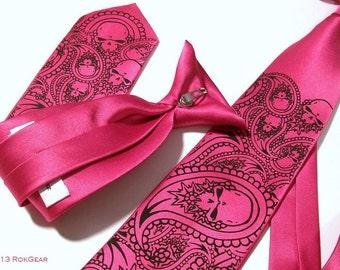 RokGear Paisley Skull neckties, mens and boys set - custom colors print to order