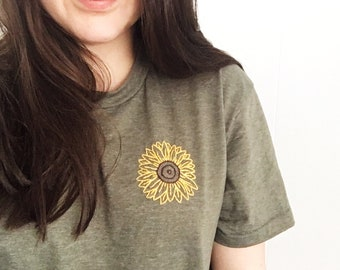 Sunflower Embroidered T Shirt