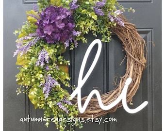 "Purple Hydrangea ""Hi"" Wreath with Eucalyptus and Purple Wildflowers, Greenery Wreath, Eucalyptus Wreath, Spring Door Wreath"