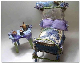 """Lovely fairy furniture, """"Summer in Greece"""", beautiful bed & table, made from driftwood, branches, moss, pods, mica, fabric, jewels, 5"""" x 8"""""""