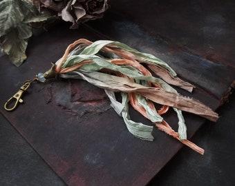 Handmade Textile Art Summer Jewelry Boho Tassel Bag Charm Boho Sari Silk Pendant Keychain For Her Pastel Jewelry Sari Ribbon Boho Accessory