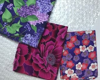 Purple Fabric/ Floral Fabric / Fat Quarters / Fabric Destash / Fabric Sale / Quilters Fabric / Quilters Cotton / Clearance Fabric /