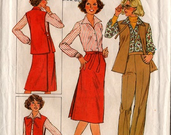 1977 Misses WRAP SKIRT TABARD Blouse Pants Pattern Simplicity #8154 Size 14 Ladies' Coordinates Vintage Sewing