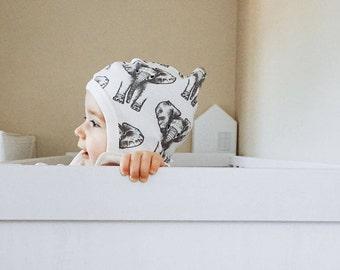 Organic Cotton Baby Hat - Baby Bonnet - Elephant Baby Hat - Baby Clothes - Infant Hat - Baby Gift - Baby Shower